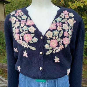 Vintage Worthington Flower Embroidered Cardigan